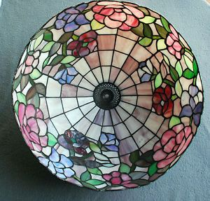Vintage Stained Glass 16 inch Floral Lamp Shade Colored Glass Tiffany Style