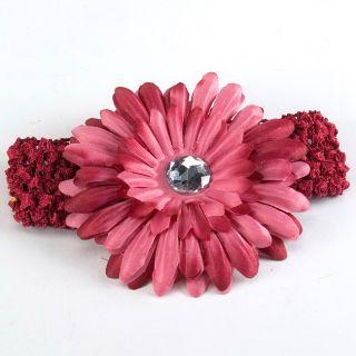 Lovely Baby Girl Hair Daisy Flower Bow Clip Headband Cute Wine Red New