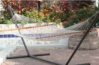 "New Large Hammock 80"" x 59"" Spreader Bar Double Rope Hammock"