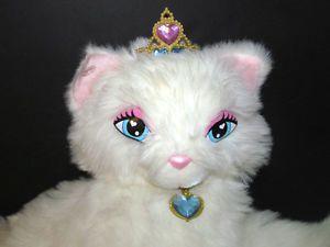 "Barbie Princess Pauper Serafina White Plush Cat 24"" 2ft Long Stuffed Toy"