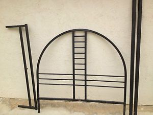 Queen Modern Metal Slatted Bed Frame with Headboard and Footboard in Black