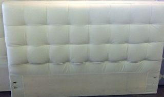 West Elm Ivory Leather Grid Tufted Queen Headboard New