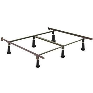Queen Size High Rise Metal Bed Frame with Headboard Brackets