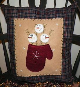 Snowman Pillow Cover Country Winter Rustic Primitive Home Decor by Wvluckygirl