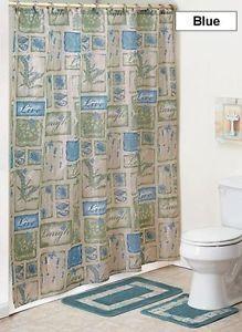 """""""Live Laugh and Love"""" Motif Shower Curtain Hooks Bath Set Home Decor"""