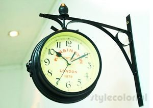 "Antique Style ""London"" Interior Double Sided Wall Clock Home Office Decor New"