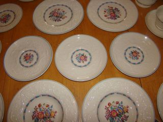 19 Pieces Wedgwood Blue Trim Patrician Morning Glory China Dinnerware Nice
