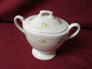 Vintage Homer Laughlin China Dinnerware Eggshell Georgian Chintz Covered Sugar