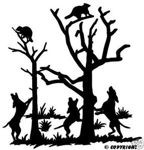 Coon Hunting Decal Split Tree Hunting Truck Sticker 6""