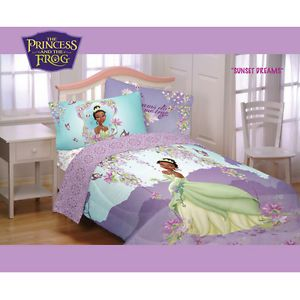 Kids Disney Princess The Frog Tiana Comforter Sheets Bedding Set Girls Bed Room