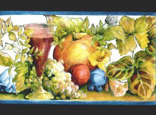 Kitchen Fruits Grapes Flowers Wallpaper Border B144208
