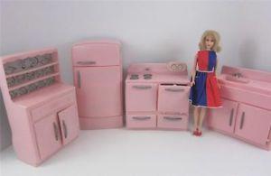 "Tico Vintage 1950's Pink Plastic 4P Kitchen Furniture Set Barbie 12"" Scale Retro"