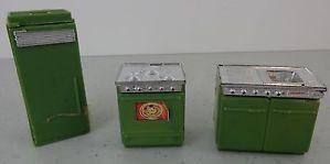 Vintage Blue Box Green Kitchen Sink Stove Refrig Plastic Dollhouse