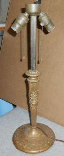 Art Nouveau Deco Miller Electric Lamp Light Base Slag Glass Reverse Paint Shade