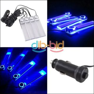 4 in1 Car Charge 12V Blue LED Interior Decoration Floor Decorative Light Lamp 02