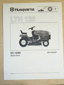 Husqvarna LTH 120 Lawn Tractor Mower Parts List Service Manual