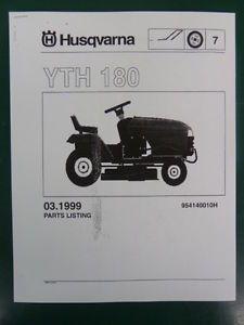 Husqvarna Yth 180 Lawn Garden Tractor Mower Parts List Service Manual