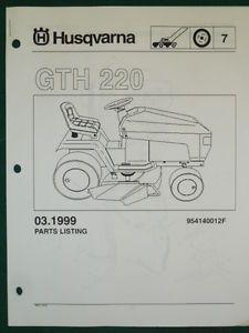Husqvarna GTH 220 Lawn Garden Tractor Mower Parts List Service Manual