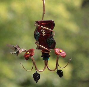 Bella Red Glass Hummingbird Feeder 2 Port Copper Feeding Tube Perry