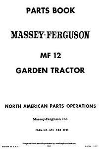 Massey Ferguson MF12 Lawn and Garden Tractor Parts Manual MF 12 Lgt