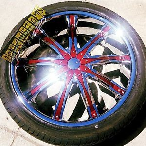 "22"" inch Wheels Rims Tires Burgundy DW29 5x115 Chrysler 300 04 05 06 07 08 09 10"