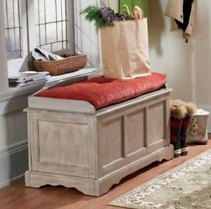 Driftwood Storage Bench Organizer Entryway Living Room Furniture New