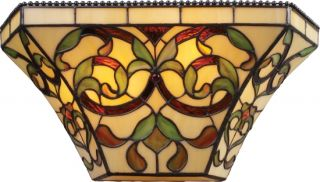 "Tiffany Style Stained Glass 2 Light Wall Sconce 14"" W"