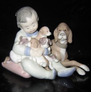 Large Vintage Lladro Porcelain Boy Dog Group Figurine Handpainted Glazed