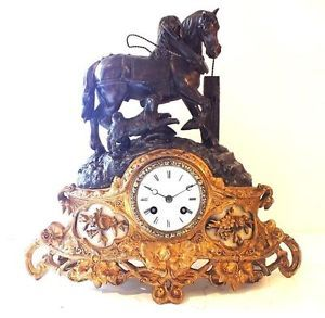 Antique French Mantel Clock Gilt Ormolu Horse and Hound Bronze Mantle Clock