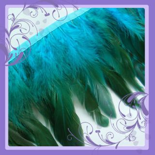F274 per Feet Long Teal Blue Rooster Hackle Feather Fringe Fascinator Material
