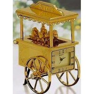 Bulova Flower Cart Miniature Collectible Clock B0432