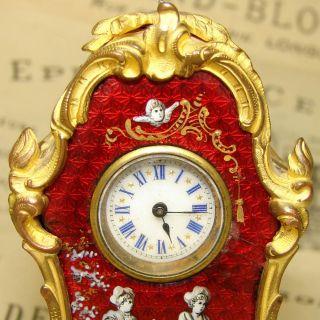 Antique French Miniature Mantel Clock 3 Figural Enamel Plaques Gilt Bronze