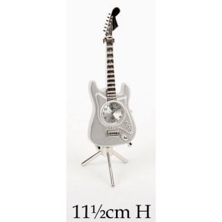 Small Collectable Novelty Miniature Mini Clock Silver Electric Guitar Design