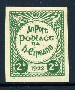 Ireland 1922 Irish Republican Army Ira 2D Green Imperf Stamp Cinderella