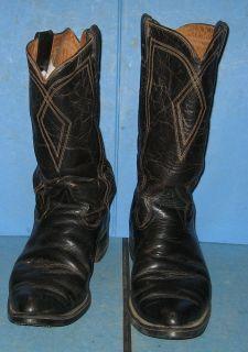 Mens Vintage Black Texas Western Cowboy Boots Size 11 1 2D Genuine Water Buffalo