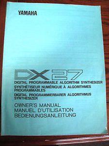 Yamaha DX27 Synthesizer Owners Manual Original