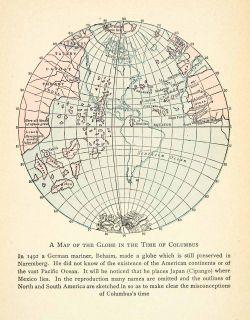 1929 Print Antique World Map Christopher Columbus Misconception Atlas Globe