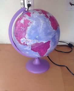 Girls Purple Light Up Globe World Lamp Night Light Educational Cute Gift