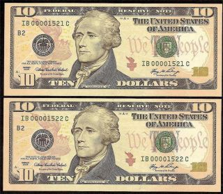 6 Cons Low UNC 2006 $10 Dollar Bills Federal Reserve Notes US Currency