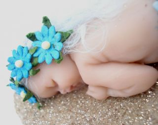OOAK Fairy Pixie Sleeping Baby Mermaid Art Doll Polymer Clay Sculpt Cara