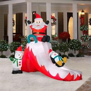 Airblown Lighted Santa Slide 8 5' Tall Christmas Yard Decor Outdoor