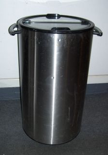 Beer Cooler Ice Chest Large Stainless Steel Rolling Cylinder w Locking Wheels