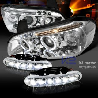 00 01 Nissan Maxima Dual Halo Projector Headlights LED Bumper Fog Lamps