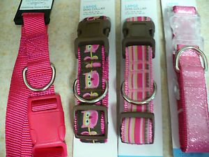 Set of 4 Fun Large Girl Dog Collar Collars Nice Preppy Pink Ribbon Bargain