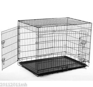 """30"""" Two Doors Folding Dog Cage Crate Wire Kennel Cat Bird Cage Pet Supply New"""
