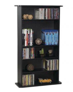 Media Storage Cabinet DVD CD Organizer Tower Rack Black Shelf Book Office