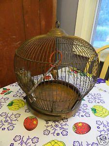 Antique Bird Cage Art Deco Copper Round Hanging Bird Cage Canary Victorian 19c