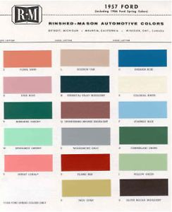 1957 Ford Paint Color Sample Chips Card Colors