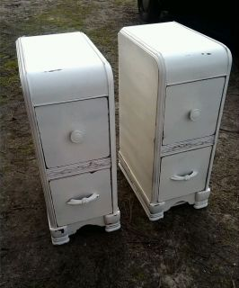 Stunning Pair of Shabby Nightstands Antique Hand Painted Chic Furniture