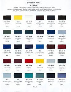 2002 Mercedes Paint Color Sample Chips Card Colors